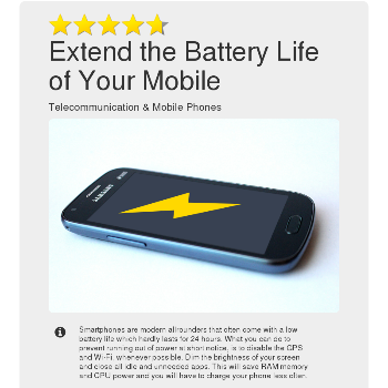 Extend the Battery Life of Your Mobile - Telecommunication & Mobile