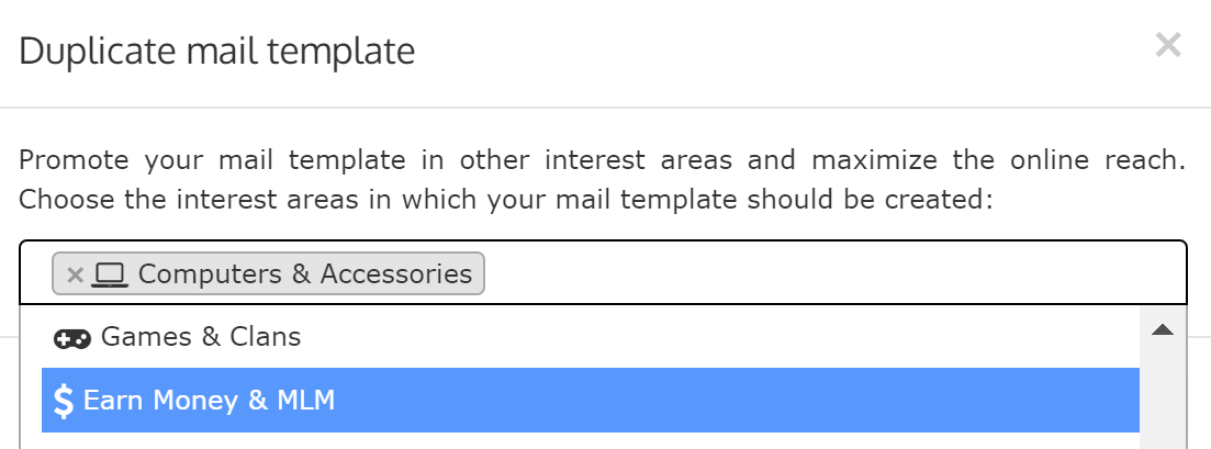 Duplicate mail template in different interest areas