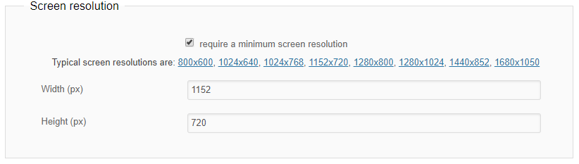 Require minimal screen resolution